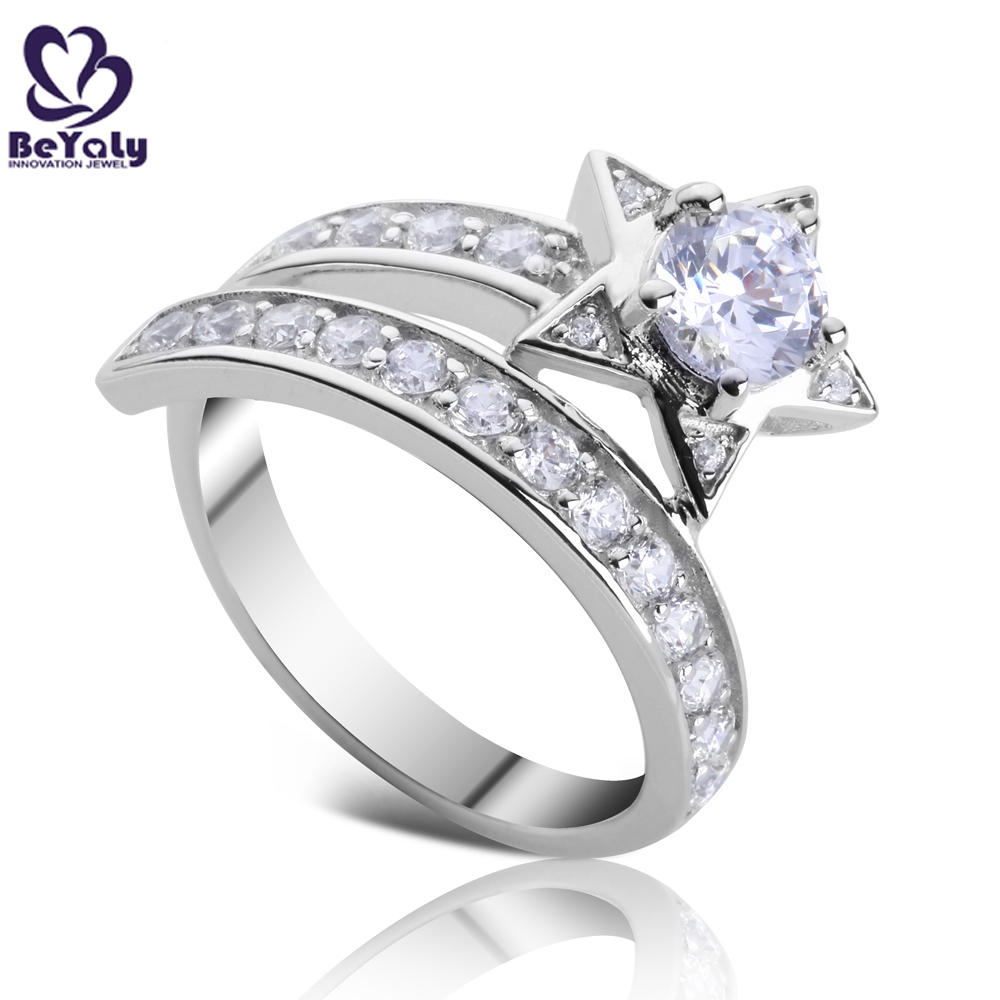 Fantastic girls cz star design 925 sterling silver index finger rings