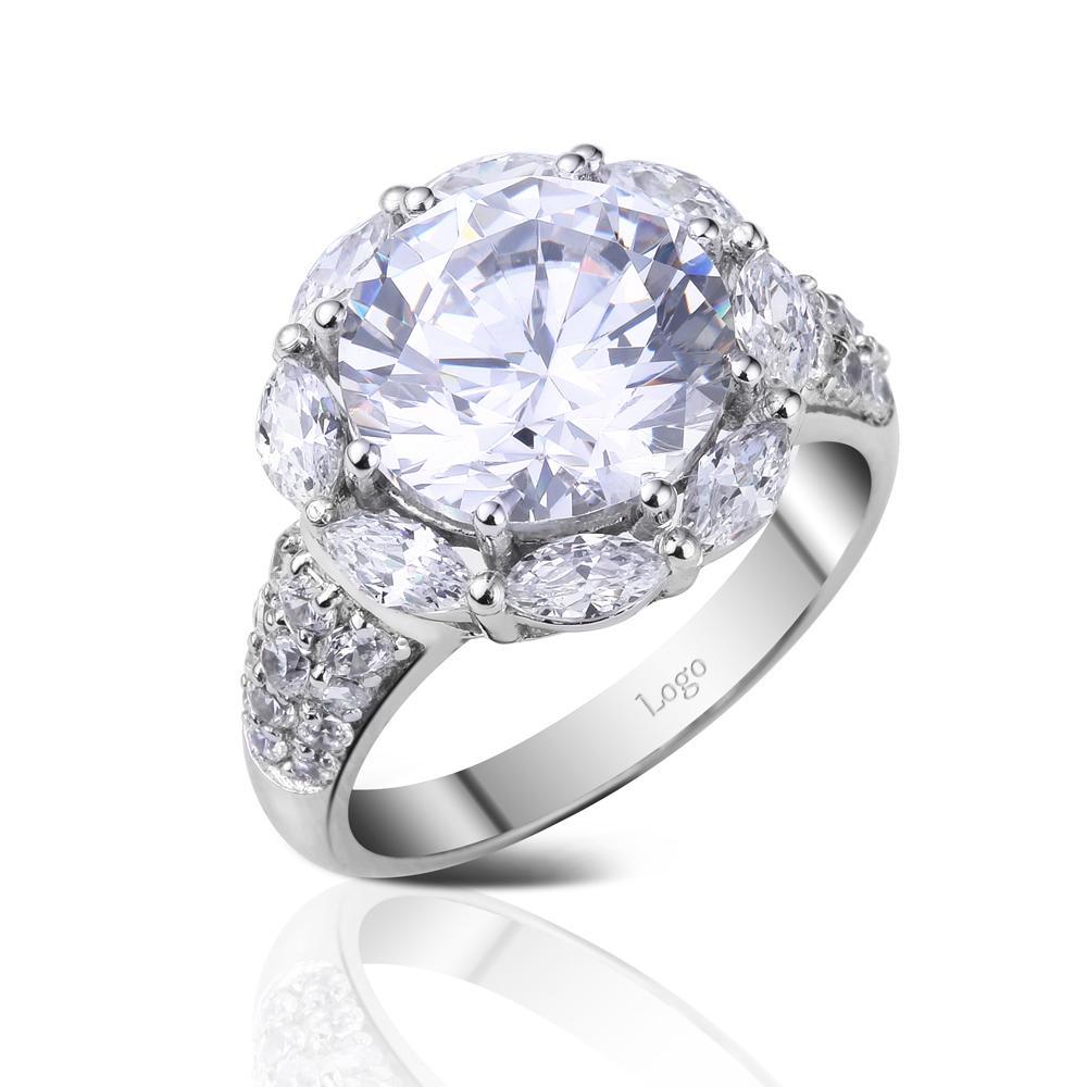 Fashion design silver clear cz sunflower rings