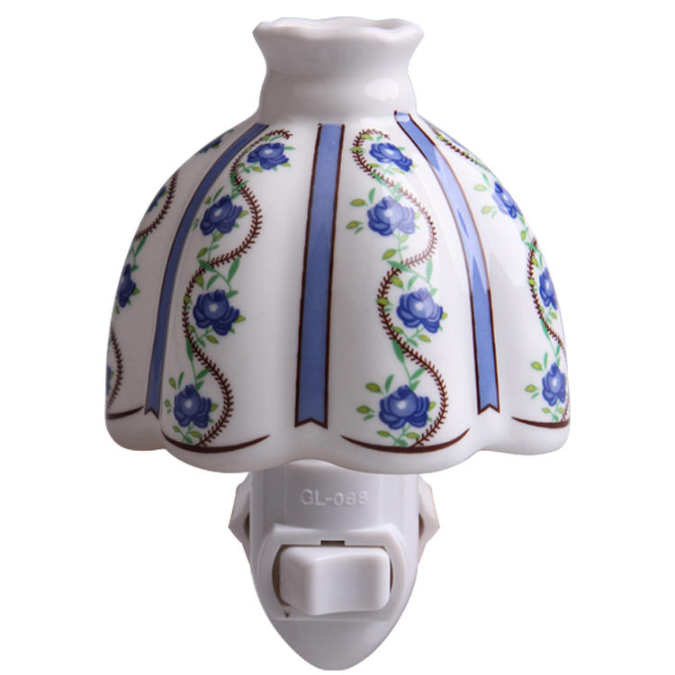 fashion ceramic wall plug night light decoration in door with incandescent Bulb