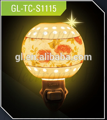 ETLCE SAA BS round porcelain ceramic decoration traditional night light sensor switch bulb with 110V and 220V and 5 or 7 W