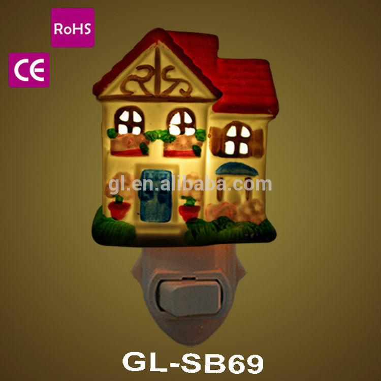 fragrant lamp 50-60hz decorative lamp modern ceramic night light with small house design