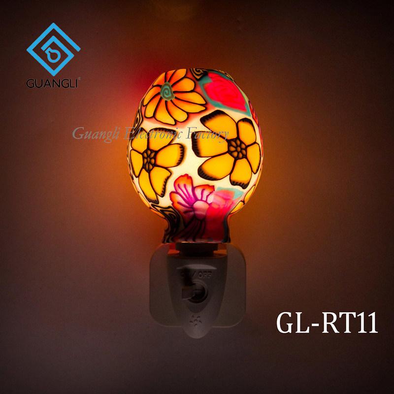 GL-RT11 OEM Purple Mosaic design Aroma Essential Oil soft Art glass night light for home decoration