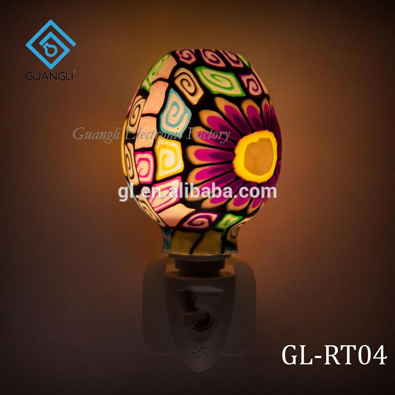 ETLCE SAA CB BS Purple Mosaic design Aroma Essential Oil soft Art glass night light 110v 220v 7w
