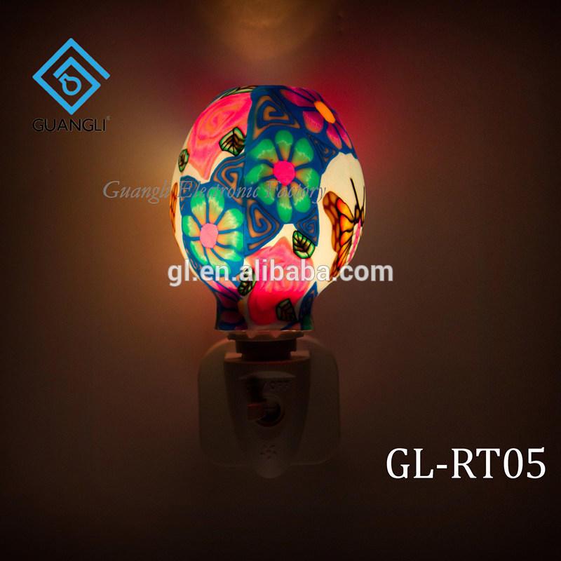 ETLCE SAA CB BS indoor decoration Aroma Essential Oil soft Art glass butterfly flowers design night light 110v 220v 7w