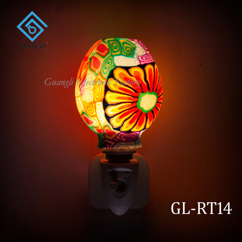 indoor decoration Aroma Essential Oil soft Art glass beauty colorful flowers design night light 110v 220v 7w GL-RT06