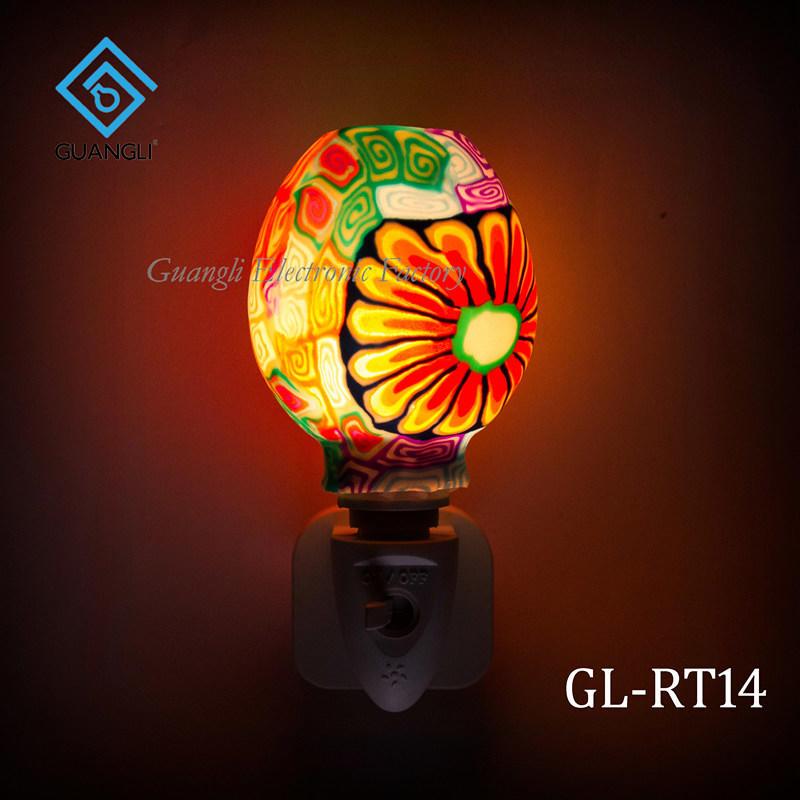 indoor decoration Aroma Essential Oil soft Art glass beauty colorful flowers design night light 110v 220v 7w GL-RT06