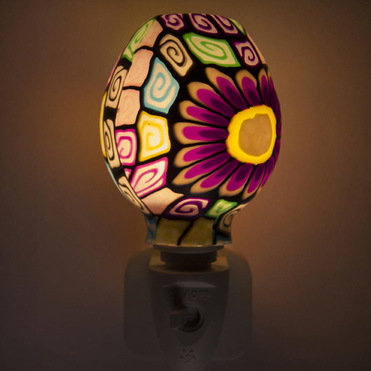 GL-RT04 OEM Purple Mosaic design Aroma Essential Oil soft Art glass night light for home decoration