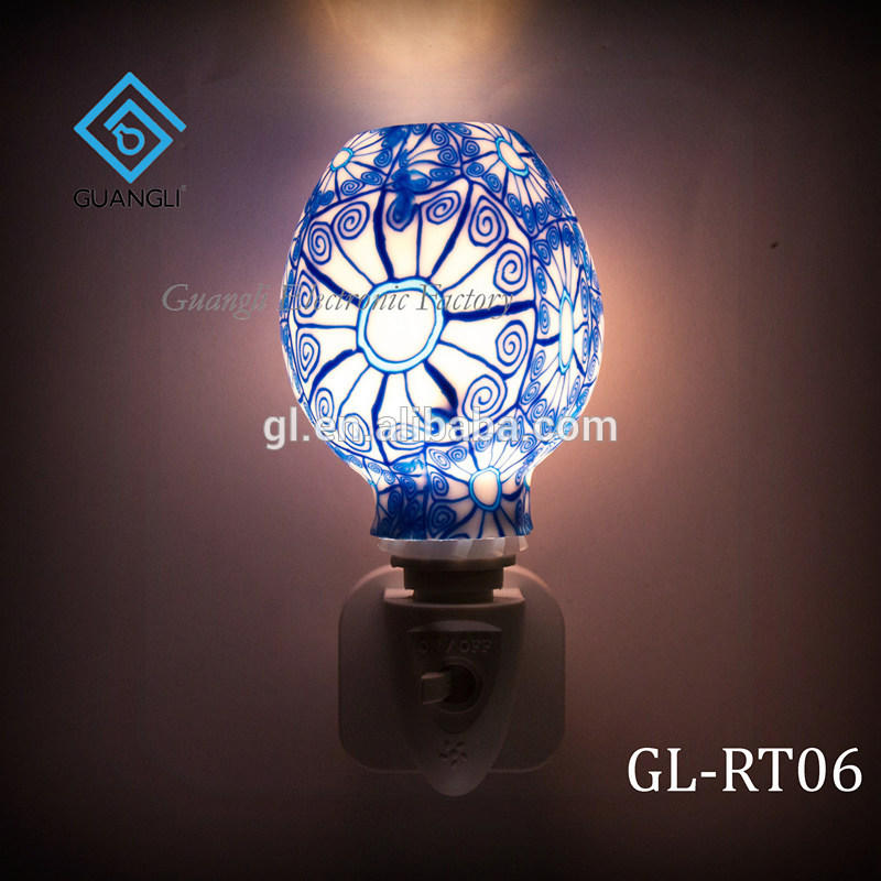 GL-RT06 OEM Purple Mosaic design Aroma Essential Oil soft Art glass night light for home decoration