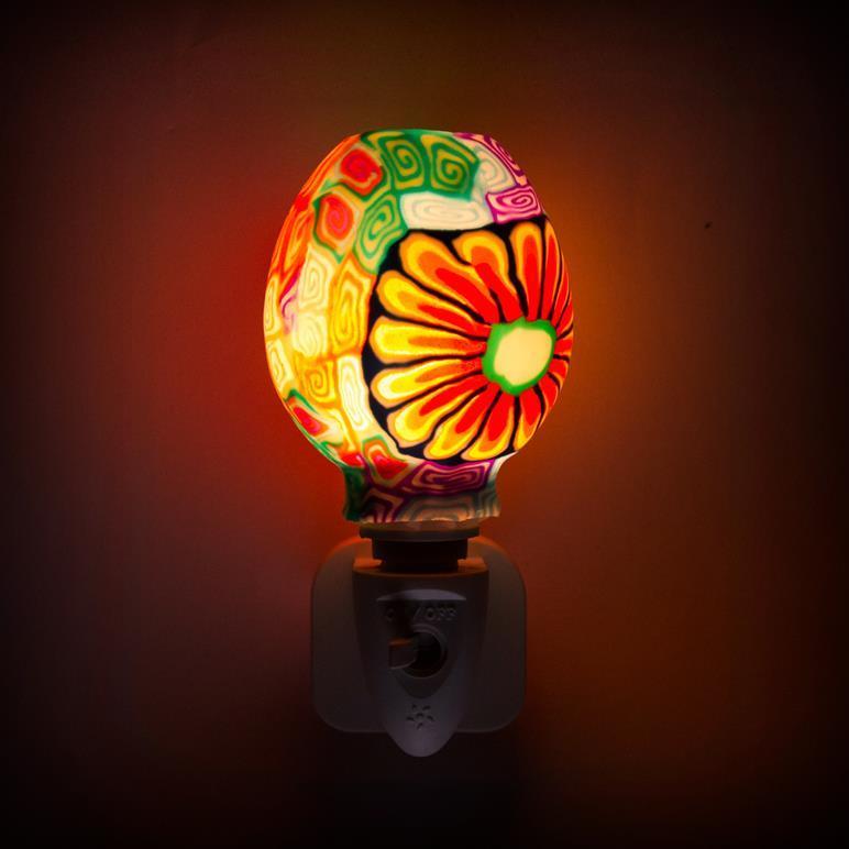 GL-RT14 OEM Purple Mosaic design Aroma Essential Oil soft Art glass night light for home decoration