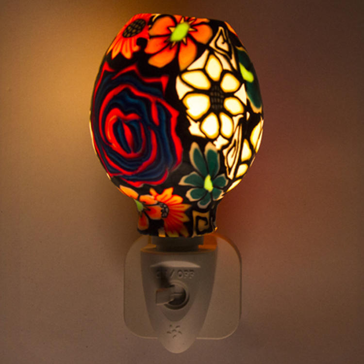 ETLCE SAA CB BS Aroma Essential Oil soft Art glass colorful flowers design night light 110v 220v 7w GL-RT06