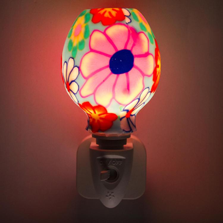 ETLCE SAA CB BS Aroma Essential Oil soft Art glass red flowers design night light 110v 220v 7w GL-RT06