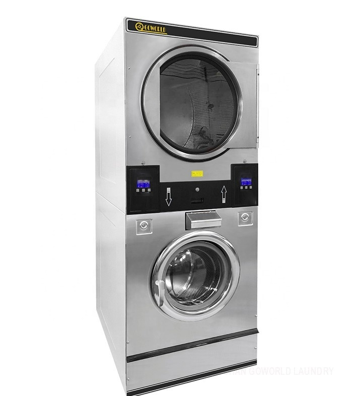 Commercial stack garment washing drying machine