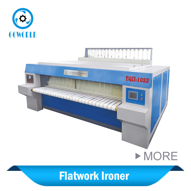 Gas heat roller chest type flat ironing machine for Five star hotel