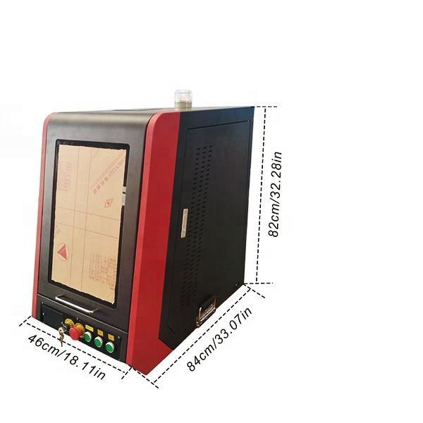 50W Fiber Enclosed Lazer Marker Machine For Gold Leb Bulb Silver Aluminum