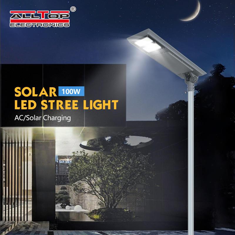 ALLTOP High lumen waterproof ip65 outdoor smd 100w integrated all in one solar led garden light