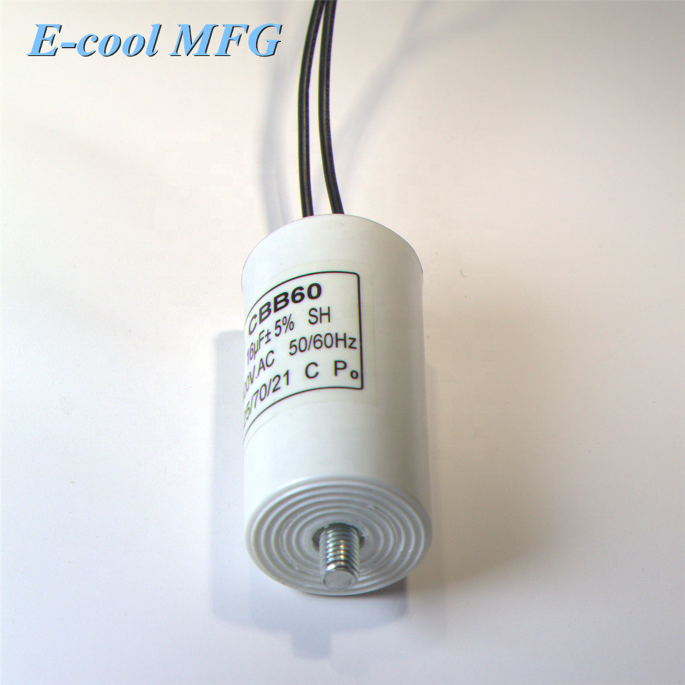 CBB60 AC 450V 35uF 8mm Thread Polypropylene Film Motor Run Capacitor