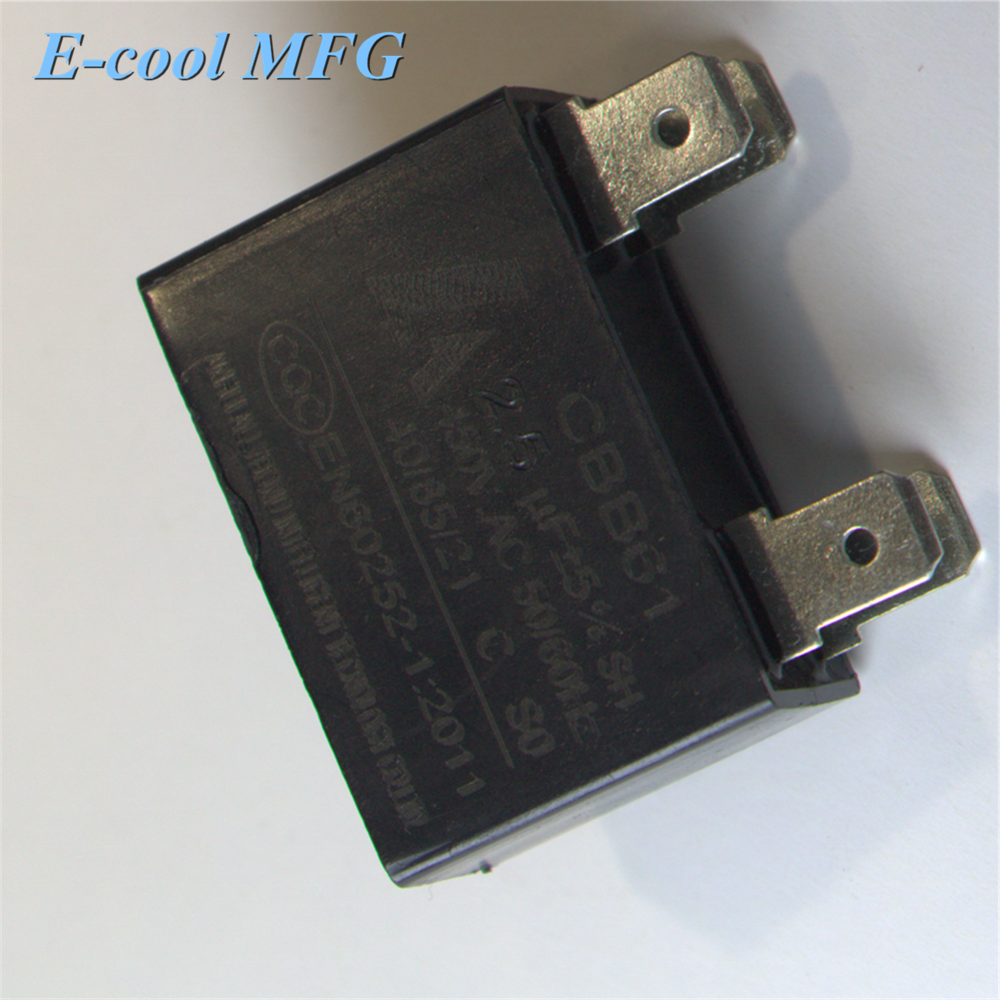 CBB61 AC450V 1.5ufWired Motor Run Capacitor with Fixing Hole, Black, Fan