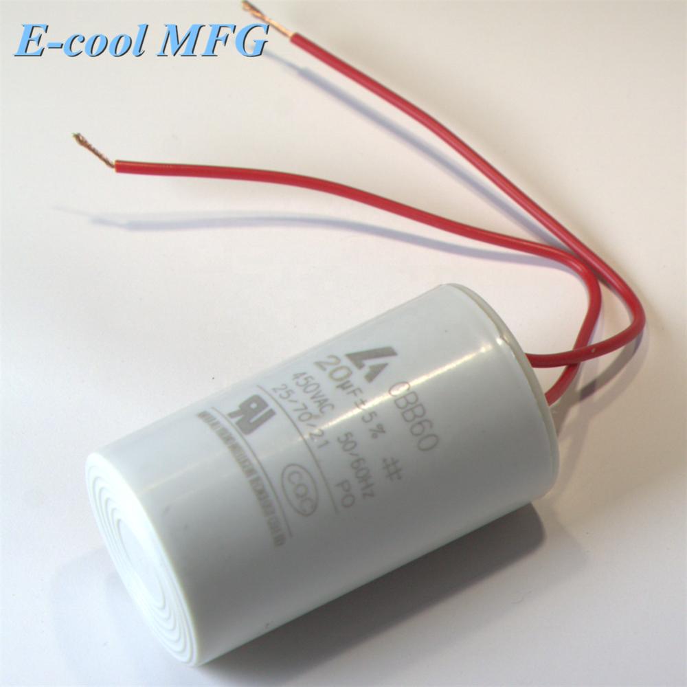 Washer Cylindrical Polypropylene Film CBB60 Capacitor AC 450V 2uF 5%