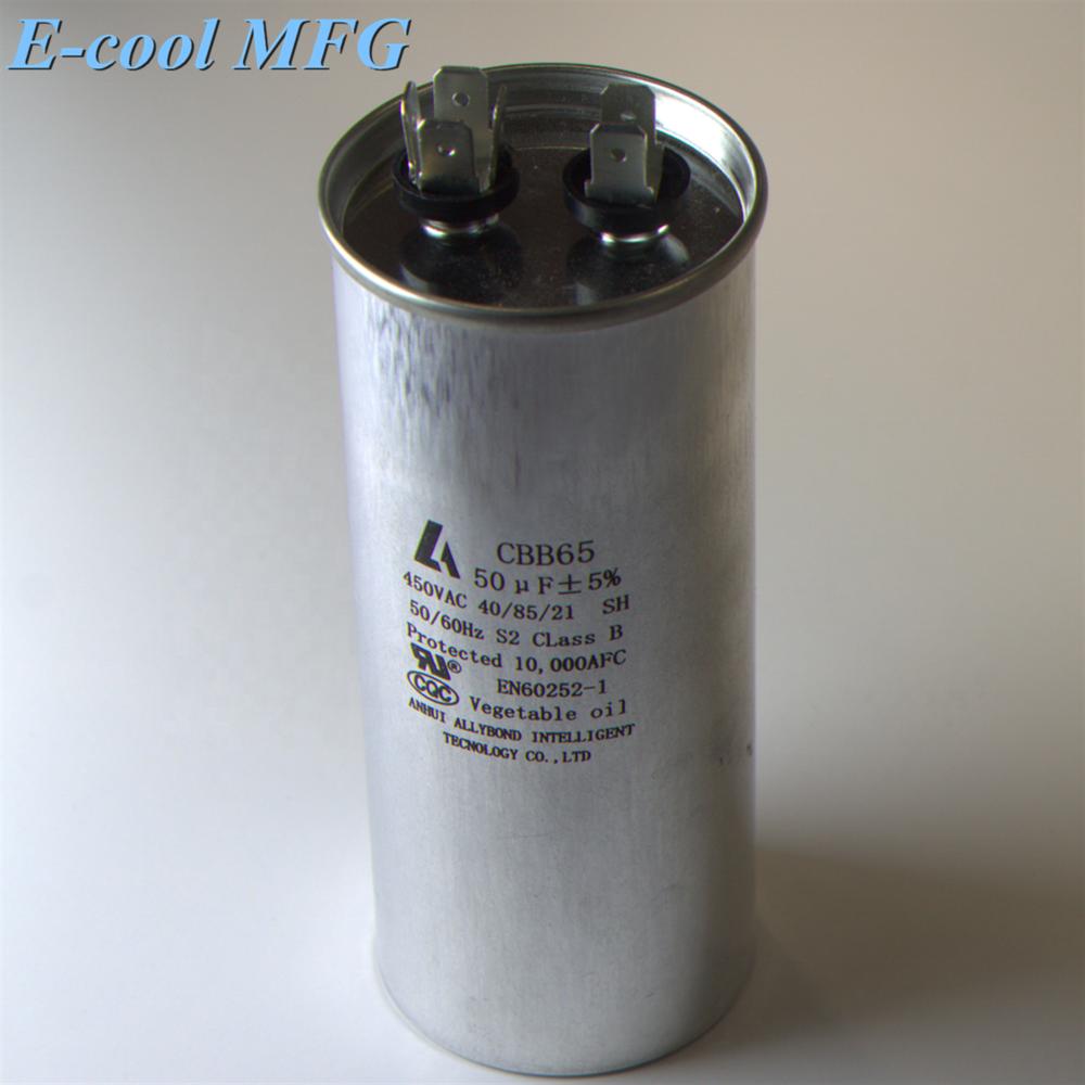 air conditioner silver tone polypropylene film ac dual capacitor cbb65