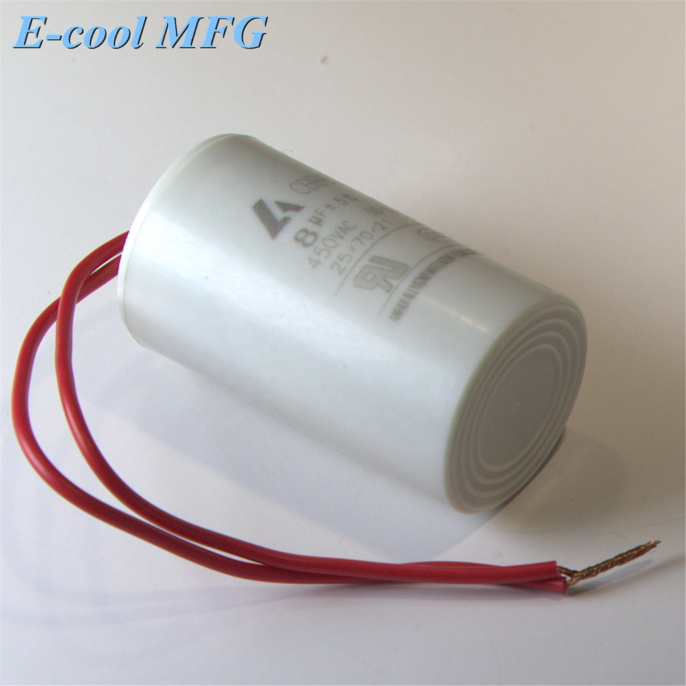 2-100uf CBB60 motor capacitor 450VAC with lead wire