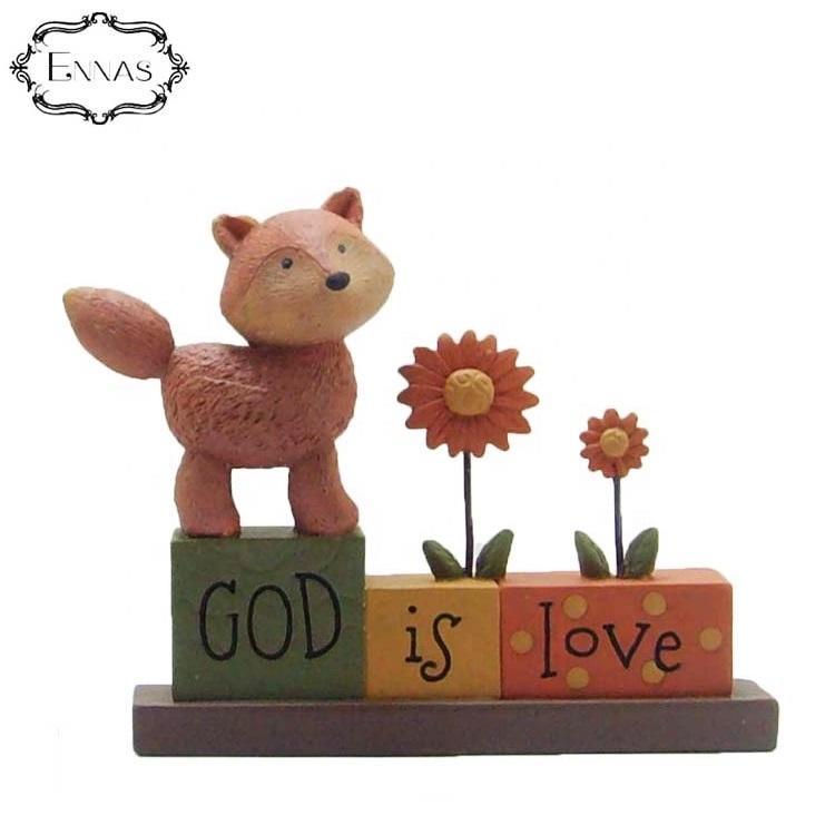Resin figureof 'GOD IS LOVE'blockswith fox/flowers religion decoration supplies