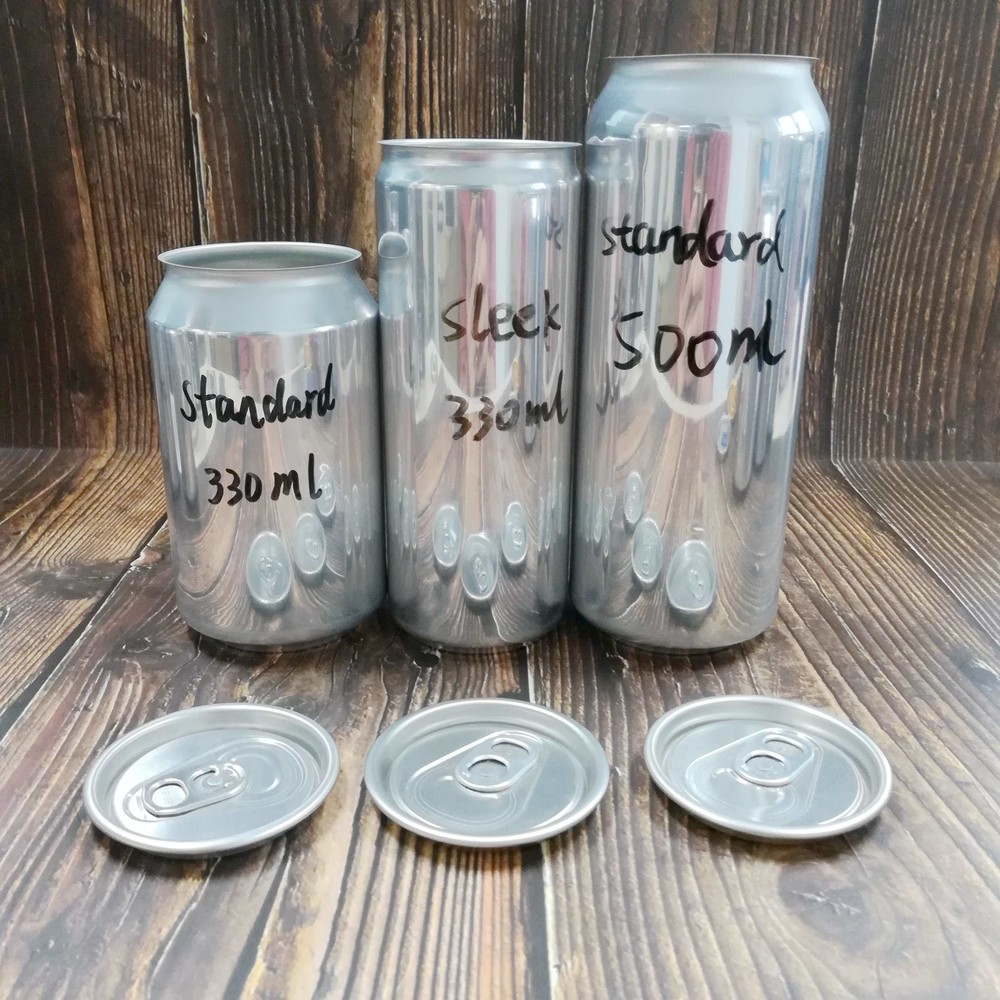 Wholesale food grade empty blank Aluminum Can sleek 330ml 330ml and 500mlWithout Print for Craft Beer Brewery