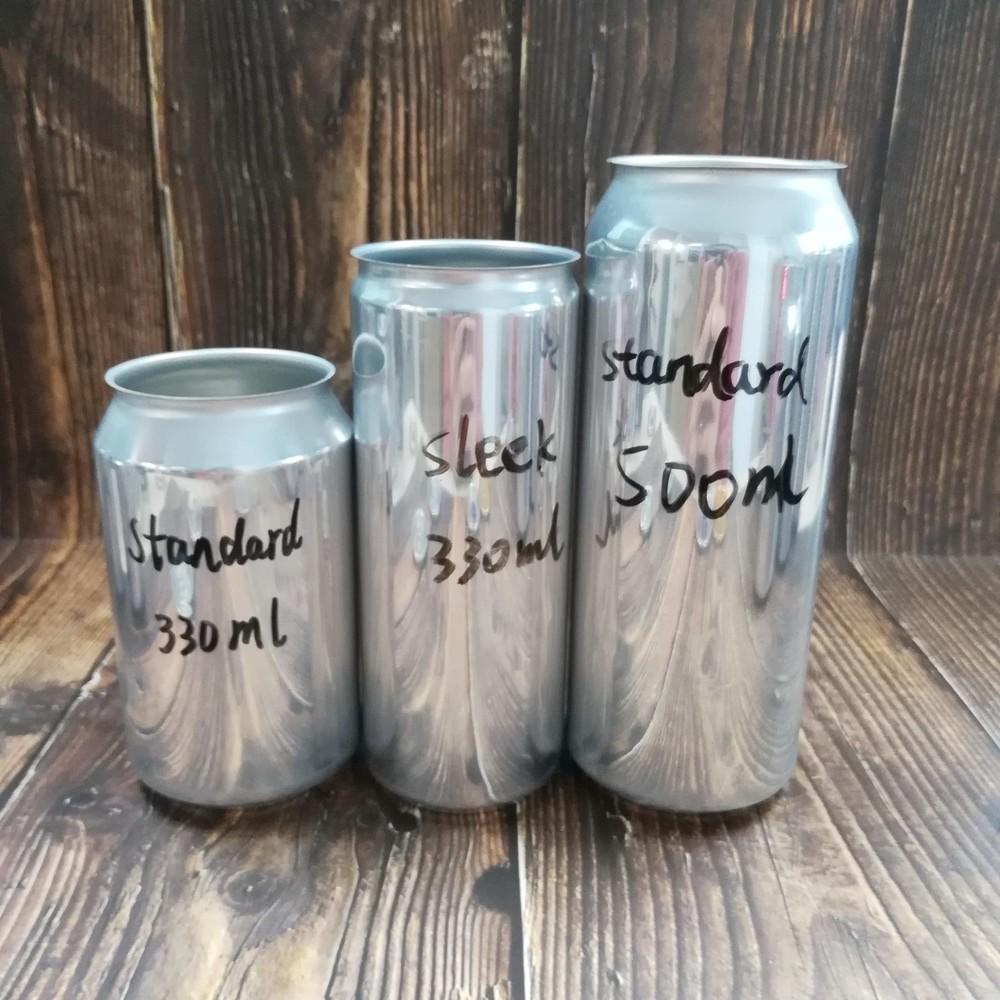 Wholesale food grade empty blank Aluminum Can sleek 330ml, 330ml, 500ml Without Print for Craft Beer Brewery