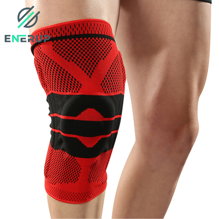 Enerup Free Sample Adjustable Hinged Nylon With Silicone Spring Pads Support Sleeve Brace with Side Stabilizers Knee Cap