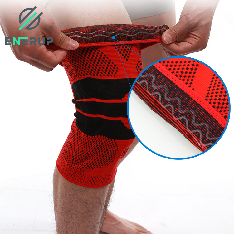 Enerup Soft Compression Sports Silicone Spring Full Powerlifting Knee Pad Support Brace Sleeve