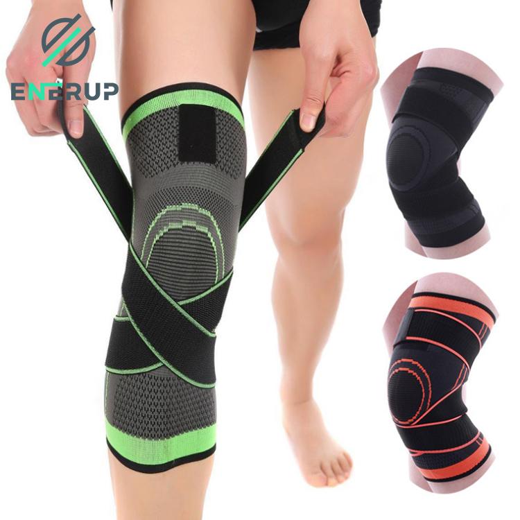 Enerup Nylon Anti Slip Silicone Patella Knee Wraps Pad Sleeve Support Brace With Strap