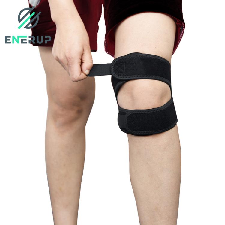 Enerup gym basketball lifting neoprene open patella knee sleeve strap support brace