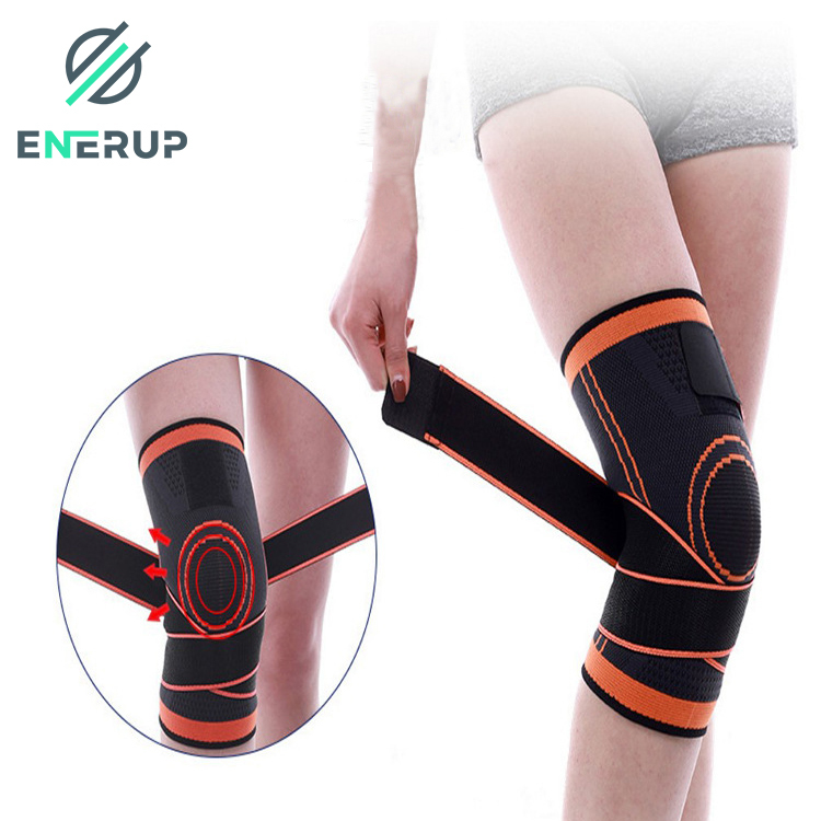 Enerup Spring Loaded Sports Running Powerlifting Knee Protector Guard Safety Sleeve Brace Pads