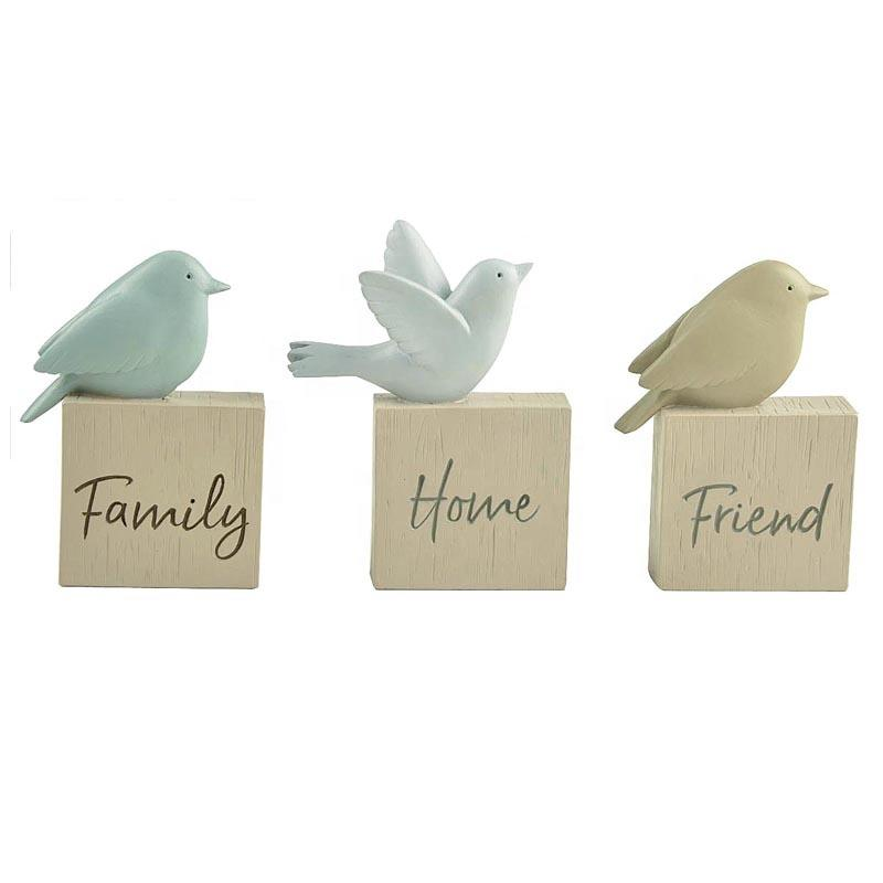 Garden Fairy Figurines Wholesale Candy Resin 3 Bird on Block For Home Friend Family Resin Sculpture