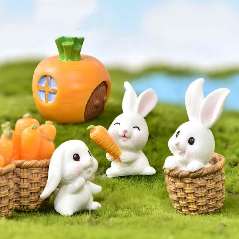 1 Set Cute Rabbit Carrots House Horticultural Plants Resin Accessories For Micro Landscape Decoration Animal Cartoon Mini Figure