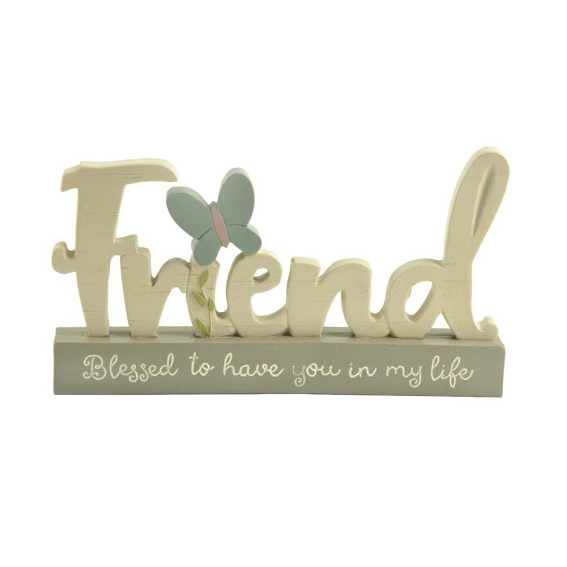 Mode home friend plaque on the base home decor poly resin plaque