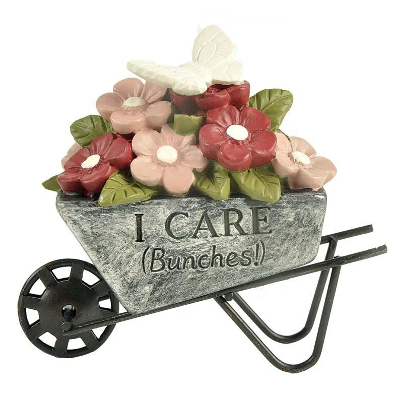 2020 Wholesale Polyresin Decoration Flower Pot on Trolley-I CARE