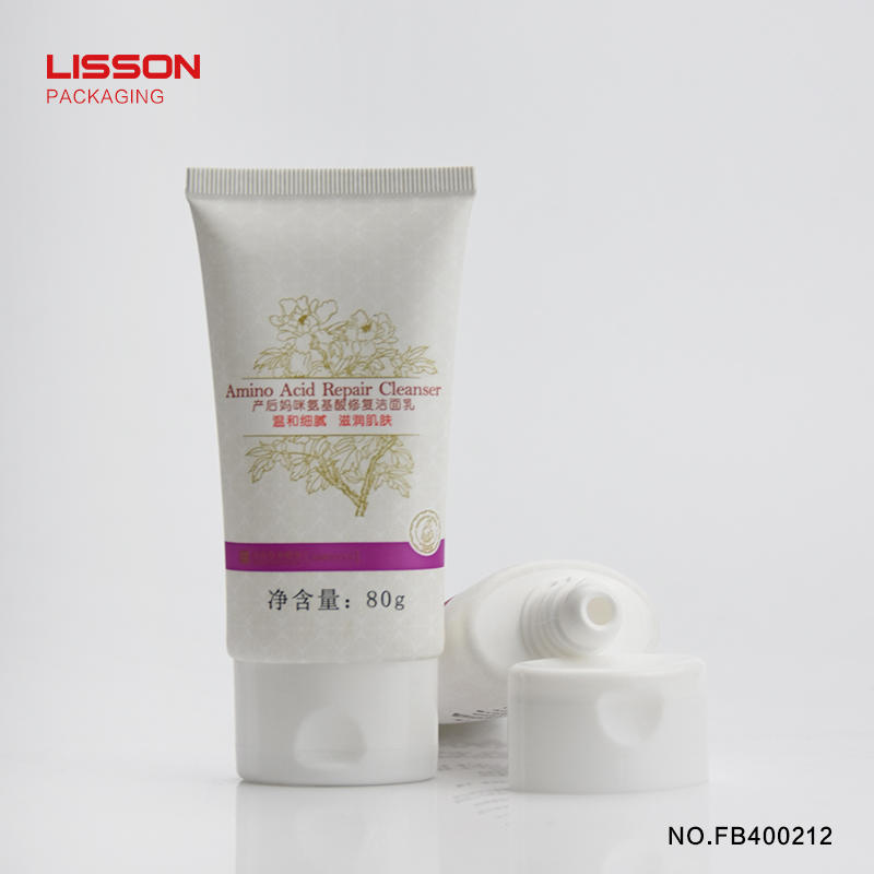 80ml Customized oval flat empty cosmetic cream tube with flip top cap