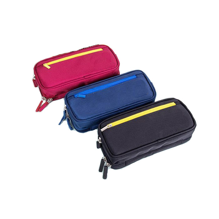 2020 Creative Zipper Pencil Case Twill Canvas Large Pen Box Kawaii Pencil Bag For Student Girl Cute School Stationery Supplies