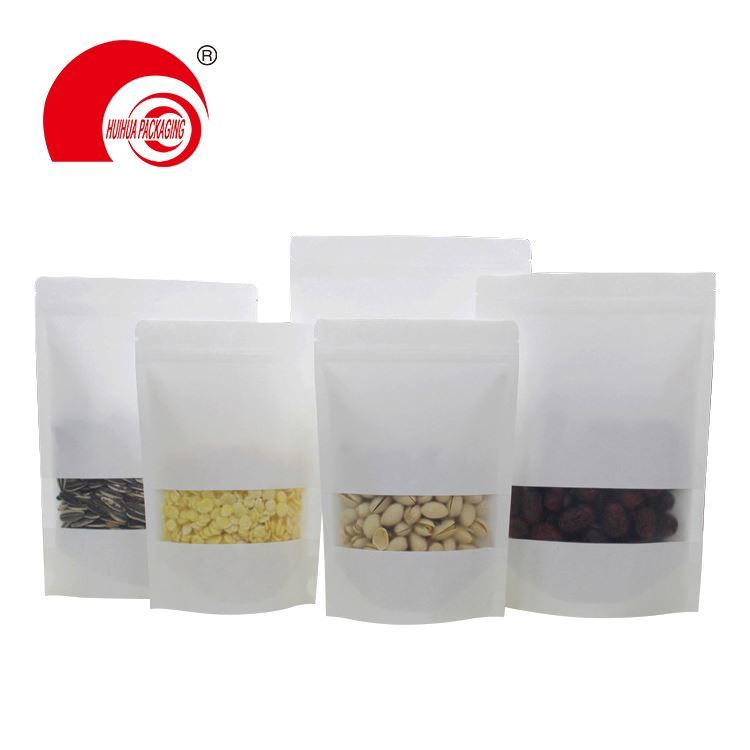 PLA Based material biodegradable white kraft paper coffee packaging window stand up pouch