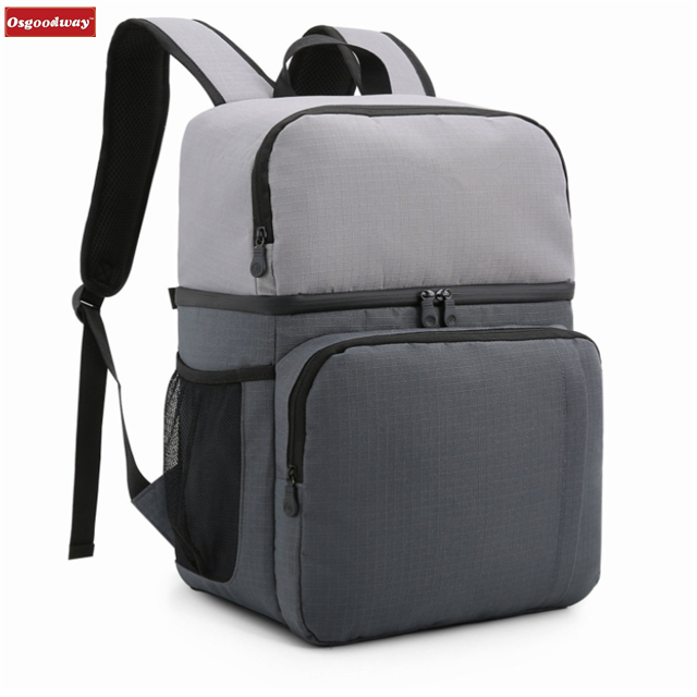 Osgoodway Simple Style Lightweight Waterproof Double Layer Lunch Cooler Bag Backpack for Travel Picnic
