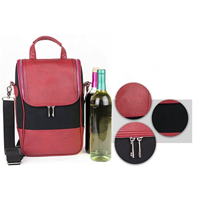 product-Osgoodway-Osgoodway China Suppliers Insulated Wine Carrier Tote Bag PU Leather Lunch Cooler
