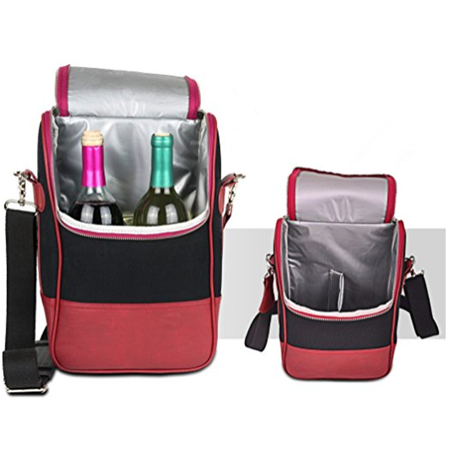product-Osgoodway China Suppliers Insulated Wine Carrier Tote Bag PU Leather Lunch Cooler Bag Backpa-1
