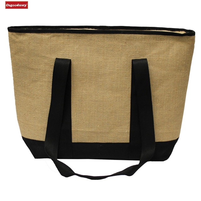 product-Osgoodway-Osgoodway Waterproof Insulated Grocery Bag Jute Shopping Thermal Cooler Tote Bag f