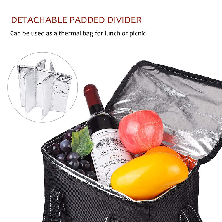 product-Osgoodway BSCI OEM Design 6 Pack Wine Bottle Cooler Bag Insulated Portable Tote Picnic Coole-1