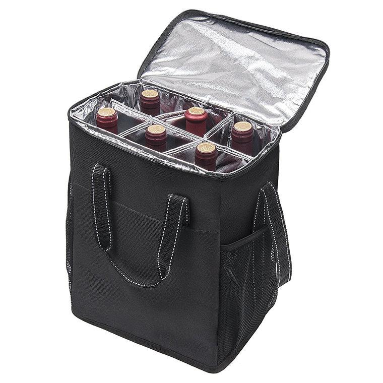 Osgoodway BSCI OEM Design 6 Pack Wine Bottle Cooler Bag Insulated Portable Tote Picnic Cooler Bag