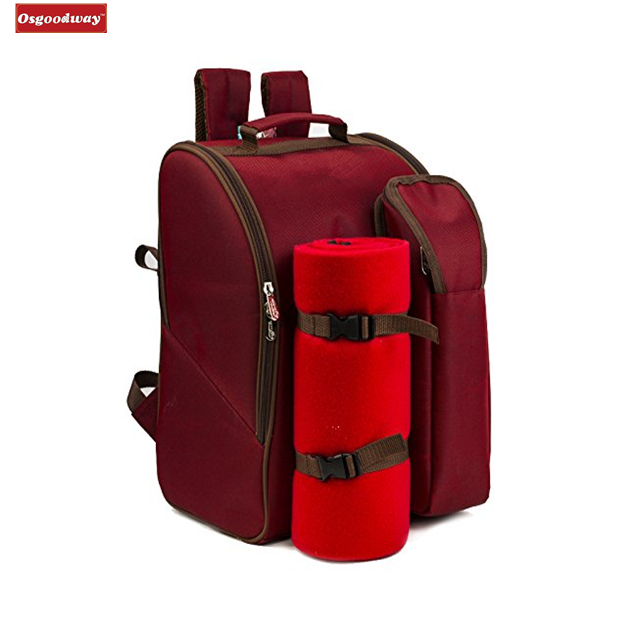 Osgoodway Good Products Insulated 2 Person Wine Lunch Bag Picnic Backpack Hamper with Cooler Compartment