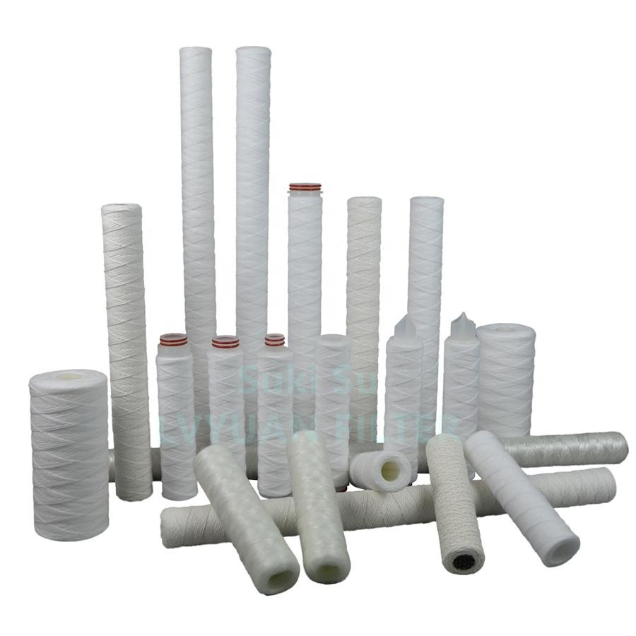 High quality 1 5 micron Sprial PP Polypropylene String wound filter cartridge for 10 20 30 40 inch RO water juice purification