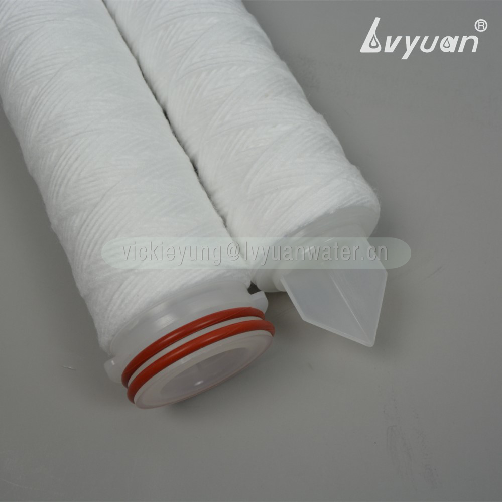 China pure polypropylene yarn filter 10 micron pp thread wound filter cartridge for electronic equipment factory