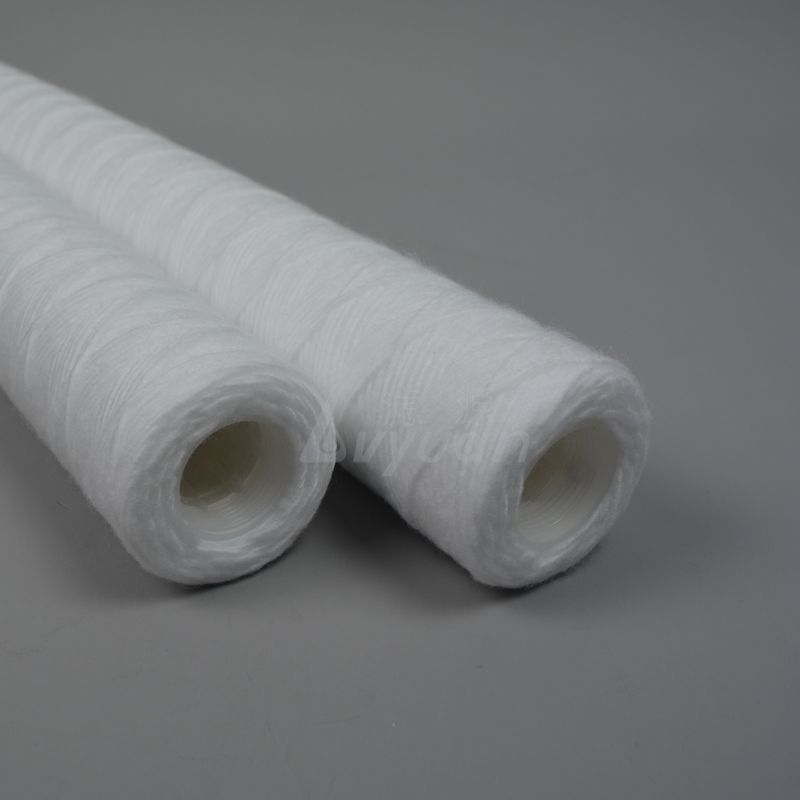 Big filtration 5 micron 10 20 30 inch polypropylene string wound pp sediment filter with 222 226 adaptor