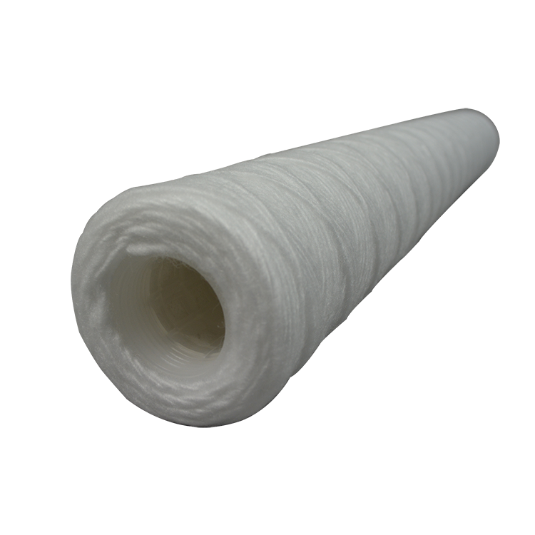 PP yarn / cotton / fiberglass 1 micron string wound filter cartridge with 40 inch core